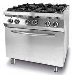 Kuchnia gazowa 4-palnikowa Kitchen Line z konwekcyjnym piekarnikiem elektrycznym GN 1/1, 225882