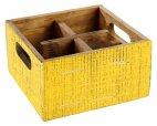 Pojemnik drewniany na przyprawy z 4 przegródkami VINTAGE żółty 17x17 cm, APS 11637