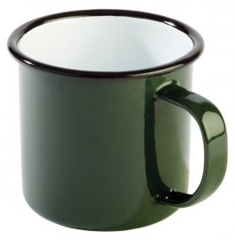 Kubek emaliowany ENAMELWARE zielono-czarny 0.35 l, APS 40634