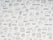 Papier tłuszczoodporny SNACKHOLDER, motyw fast food, wym. 30x20 cm, APS 40674
