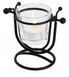 Świecznik stalowy ze szklanym wkładem na świeczkę typu TeaLight, wys. 10 cm, czarny, model 5243/120
