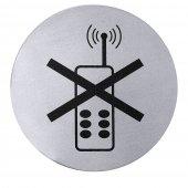 Tabliczka ZAKAZ UŻYWANIA TELEFONÓW KOMÓRKOWYCH, samoprzylepna, 7,5 cm, nierdzewna, model 7663/002