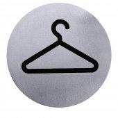 Tabliczka informacyjna SZATNIA/ GARDEROBA, średnica 7,5 cm, samoprzylepna, nierdzewna, model 7663/004