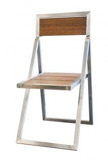 Krzesło składane ogrodowe Diamant, 930x460mm, nierdzewne, teak