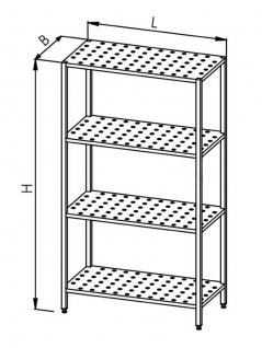 Regał perforowany, ociekowy, 4-półkowy, wym. 1400x700x1800 mm, E3240