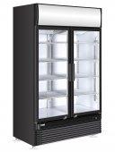 Witryna chłodnicza z podświetlanym panelem, 8-półkowa, 2-drzwiowa, czarna, poj. 750 l, HENDI 233795