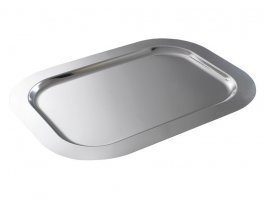 Taca cateringowa, prostokątna, zgładkim rantem, ze stali chromowanej, wym. 580x420 mm, HENDI 415504