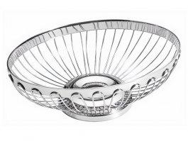 Koszyk owalny do pieczywa iowoców, ażurowy, ze stali nierdzewnej, wym. 205x145x65 mm, HENDI 426104