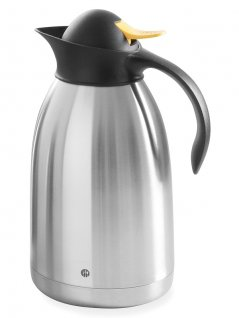 Termos stalowy do herbaty, zżółtym przyciskiem, poj. 2l, HENDI 446720