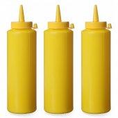 Dyspenser do zimnych sosów, żółty, poj. 0,35 l, zestaw 3 sztuk, HENDI 557839
