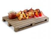 Deska drewniana do serwowania, paleta, prostokątna, brązowa, wym. 300x200x30 mm, HENDI 566244