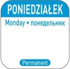 Naklejki Food Safety na każdy dzień tygodnia Poniedziałek, wielorazowe, 850077
