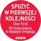 """Naklejka Food Safety """"SPOŻYĆ W PIERWSZEJ KOLEJNOŚCI"""", 850152"""
