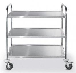 Wózek do serwowania, 3- półkowy, ze stali chromowej 810101