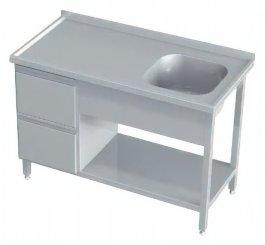 Stół ze zlewem po prawej stronie, 2szuflady ipółka, rant ztyłu, wym. 1950x600x850 mm