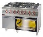 Kuchnia gazowa 6-palnikowa z piekarnikiem gazowym GN 2/1 i szafką, 41,5 kW, KROMET 700.KG-6/PG-2/SD