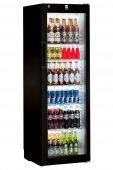 Szafa chłodnicza FKv 4113, 1-drzwiowa, przeszklona, sterowanie mechaniczne, czarna, poj. 378 l