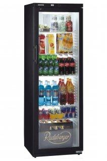 Szafa chłodnicza FKv 4143, 1-drzwiowa, przeszklona, sterowanie mechaniczne, czarna, poj. 388 l