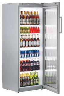 Szafa chłodnicza FKvsl 3613, 1-drzwiowa, przeszklona, sterowanie mechaniczne, srebrna, poj. 348 l