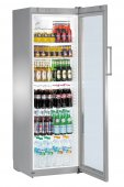 Szafa chłodnicza FKvsl 4113, 1 drzwiowa, przeszklona, sterowanie mechaniczne, srebrna, poj. 378 l