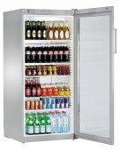 Szafa chłodnicza FKvsl 5413, 1 drzwiowa, przeszklona, sterowanie mechaniczne, srebrna, poj. 572 l