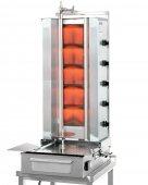 Opiekacz gazowy, idealny do opiekania mięsa uformowanego w walec, o maksymalnej wysokości (długości walca) do 81 cm i ciężarze do 120 kg.