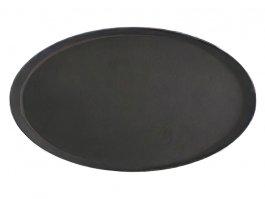 Taca kelnerska do serwowania, owalna, antypoślizgowa, czarna, wym. 565x685x25 mm, STALGAST 415560