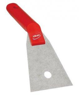 Nierdzewna skrobaczka kątowa zuchwytem, czerwona, szerokość 90 mm, VIKAN 40504