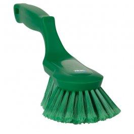 Szczotka ergonomiczna zrączką itwardym włosiem, długość 330 mm, zielona, VIKAN 41692