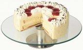 Patera na ciasto z podstawą ze stali nierdzewnej satynowanej i szklanym talerzem 30x7 cm.APS 00444
