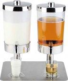 Podwójny dozownik do soku i mleka DUO SUNDAY ze stali nierdzewnej 2 x 6 l.APS 10864