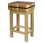 Kloc masarski drewniany na podstawie drewnianej, 400x400x110mm
