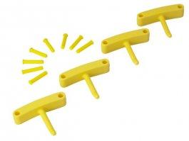 Zestaw haków poliamidowych do wieszaka 1017 i1018, 4sztuki, żółte, 140 mm, VIKAN 10166
