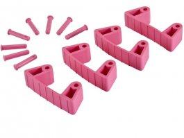 Zestaw klipsów gumowych do wieszaków 1017 i1018, 4sztuki, różowe, 120 mm, VIKAN 10191