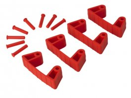 Zestaw klipsów gumowych do wieszaków 1017 i1018, 4sztuki, czerwone, 120 mm, VIKAN 10194