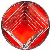 Zestaw wycinarek kwadratowych do ciasta / nierdzewne foremki do wycinania, 6 sztuk, wym. 30-70mm, wys. 30mm