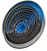 Owalne wycinarki faliste do ciasta / foremki nierdzewne do wycinania, 9 sztuk, wym. 25x20-80x65mm, wys. 30mm
