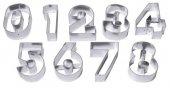 Zestaw wycinarek Cyfry do ciasta / foremki nierdzewne do wycinania, 9 sztuk, wym. 65x50mm, wysokość 25mm