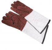 Skórzane rękawice o pięciu palcach i bawełnianej podszewce, idealne  do zastosowań zarówno w wysokich temperaturach, jak i do mrożonek.