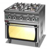 Kuchnia gazowa 4-palnikowa 000.KG-4s/PG-2 (20,5 kW) z piekarnikiem gazowym