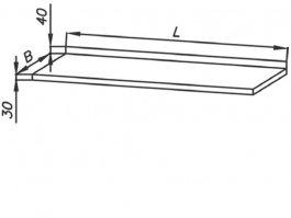 Blat roboczy E1010 Eco, nierdzewny, wym. 1500x600mm, grubość 30mm