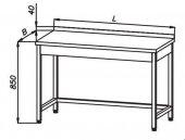 Stół roboczy E 1030 Eco, z blatem 400x600mm, wysokość 850mm, nierdzewny, rant z tyłu