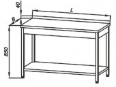 Stół roboczy z półką E 1040 Eco, z blatem 700x600mm, wys. 850mm, nierdzewny, rant z tyłu