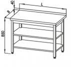 Stół roboczy E 1046 Eco z 2 półkami, blatem 500x700mm, wys. 850mm, nierdzewny, rant z tyłu