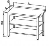 Stół roboczy E 1046 Eco z 2 półkami, blatem 400x600mm, wys. 850mm, nierdzewny, rant z tyłu