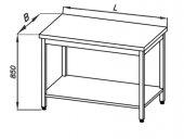 Stół roboczy centralny E 1048 Eco, z półką oraz blatem 400x700mm, wys. 850mm, nierdzewny