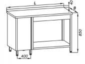Stół roboczy E 1075L Eco, z szafką po lewej stronie, półką i rantem, blat 800x600mm, nierdzewny