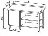 Stół roboczy E 1077L Eco, z szafką po lewej, 2 półkami i rantem, nierdzewny, z blatem 2100x700mm