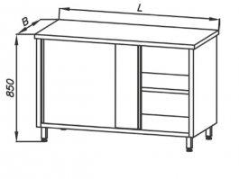 Stół roboczy E1105 Eco zszafką, przelotowy, zblatem 800x600 mm, nierdzewny, drzwi przesuwne