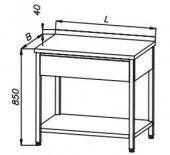 Stół 400x700x850mm z szufladą, rant z tyłu